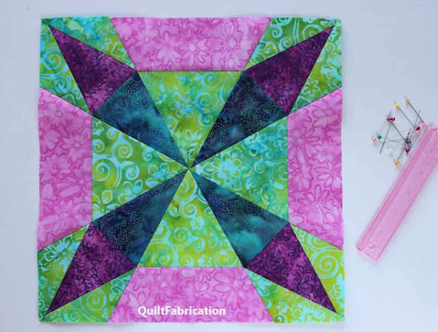 purple pink and green quilt block