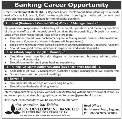 Vacancy Notice from Green Development Bank