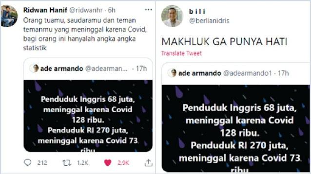 Ade Armando Bandingkan Kasus Covid Indonesia dan Inggris, Netizen: Makhluk Ga Punya Hati