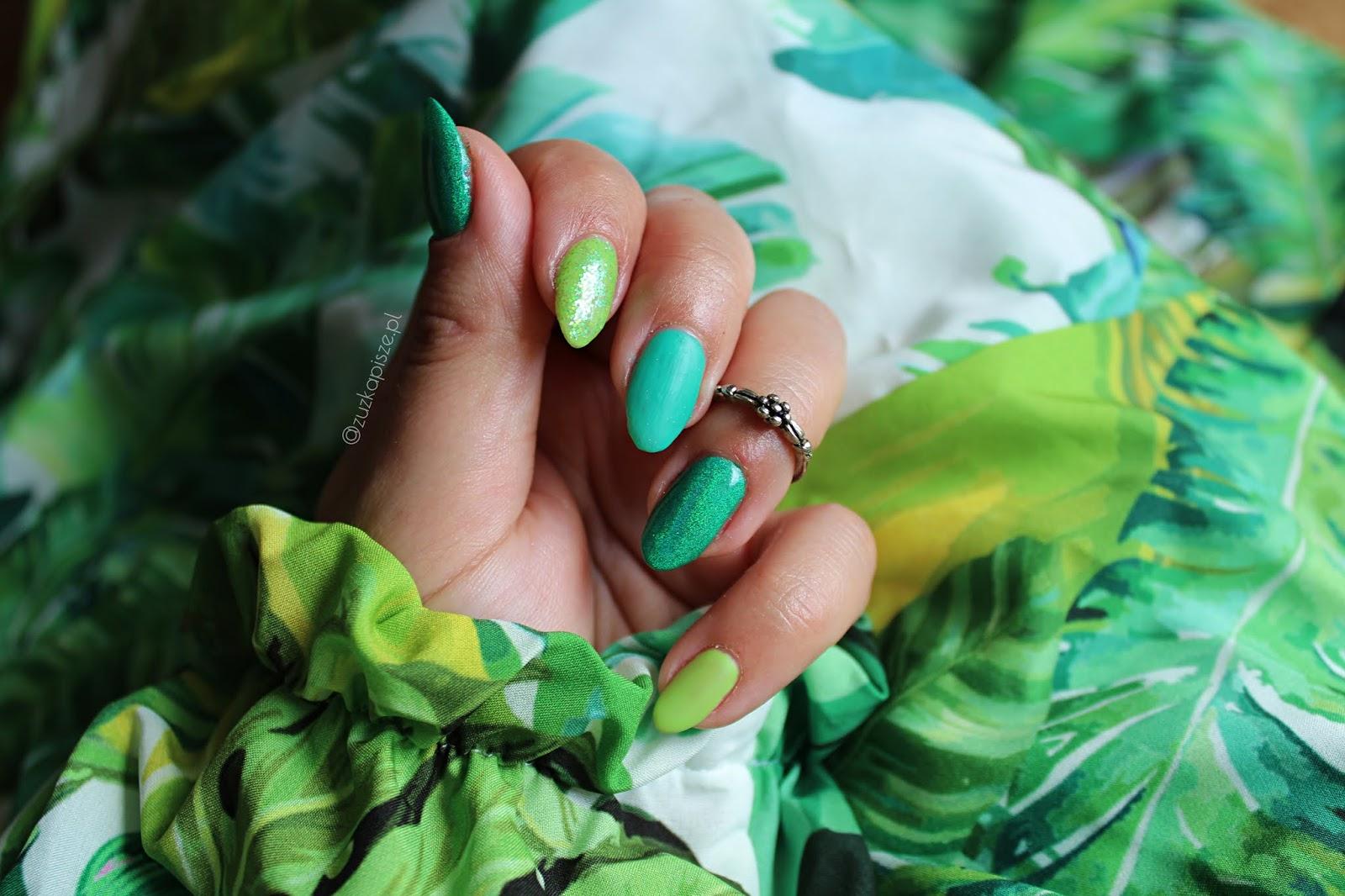 Zielony manicure - zmalowany lakierami hybrydowymi NC NAILS COMPANY