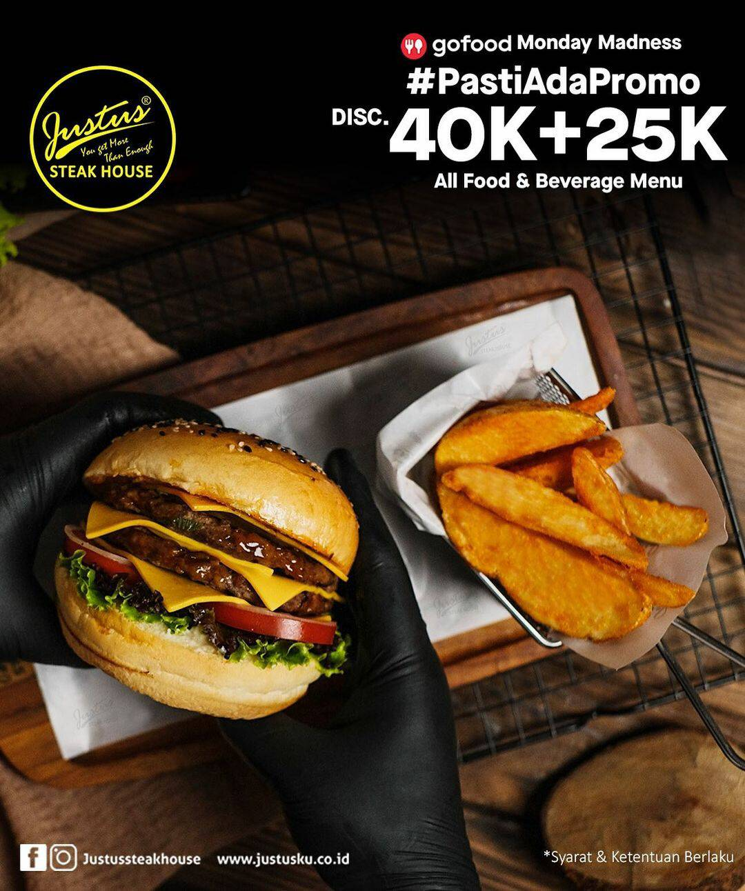 Justus Steak House Pasti Ada Promo! Diskon 40k + 25k via GoFood