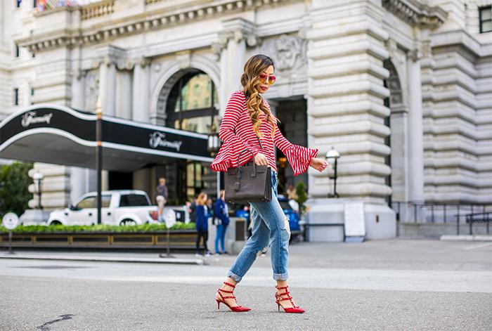 Style Mafia poppy top, striped bell sleeves top, ripped jeans, boyfriend jeans, valentino rockstud, chanel earrings, saint laurent sac de jour bag, san francisco street style, san francisco fashion blog, tinted sunglasses