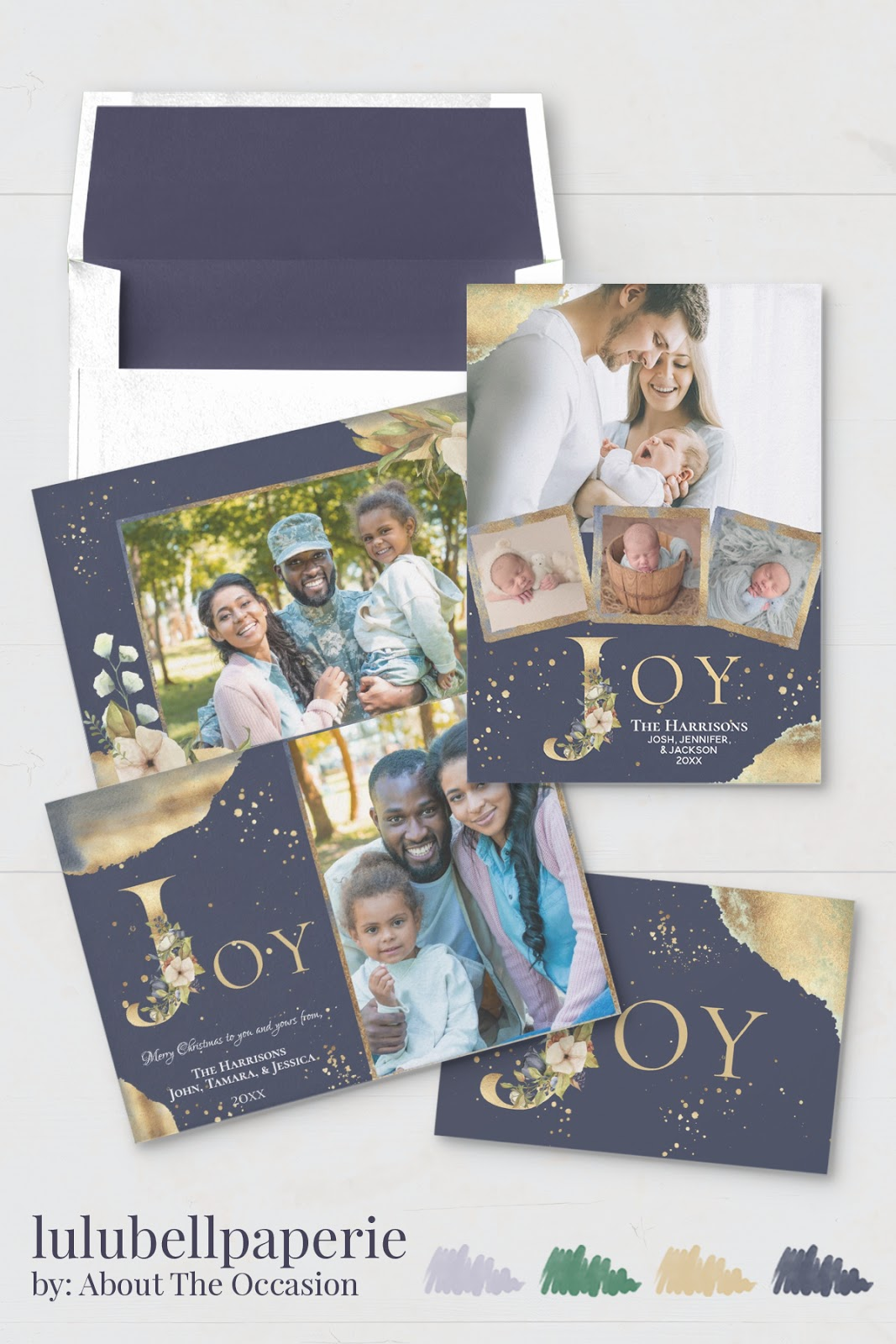 Navy Blue Gold and Green Joy Christmas Card Stationery Suite - Custom Photo Holiday Card Assortment
