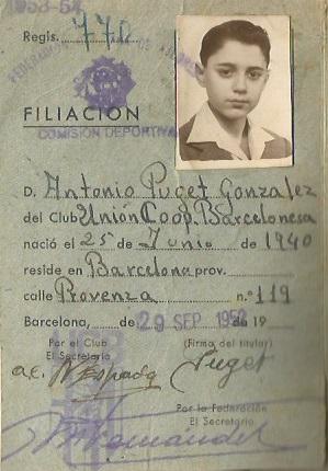 Ficha federativa de Antoni Puget i González en 1952