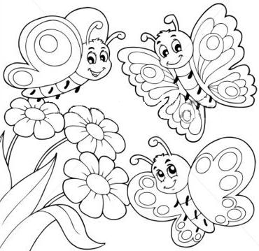 Planse De Colorat Si Fise Pentru Copii Fluturi Planse De