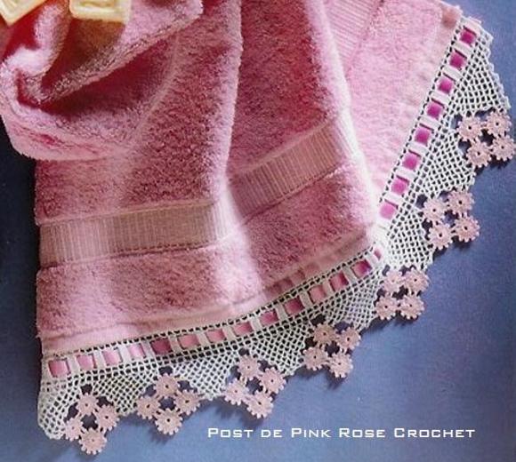 Pink Rose Crochet Barrado Candy Pink Edging