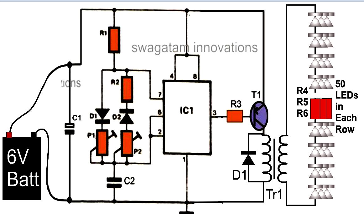 Illuminating 100 Leds From 6 Volt Battery 12 Charger Schematic Http Homemadecircuitsandschematics Circuit Diagram