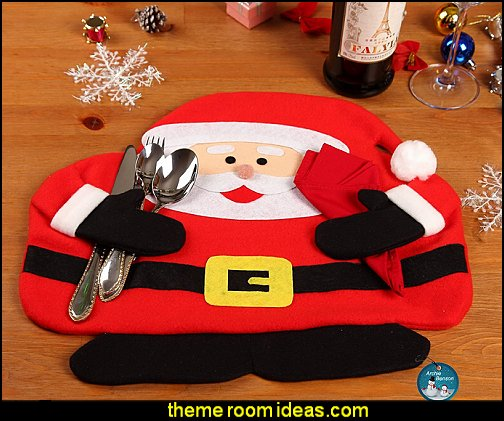 Santa Place Mat and Red Napkins