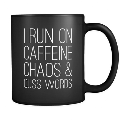 coffee caffeine cuss mug, funny mugs, coffee humor, coffee jokes, gift for coffee lover