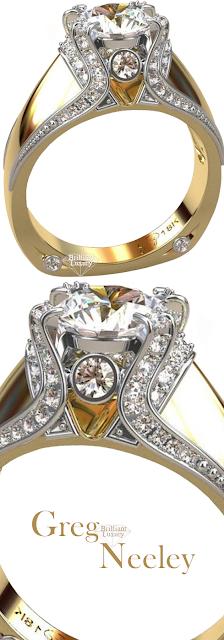 Greg Neeley Italian Top Ladies Diamond 18k Bridal Ring #jewelry #brilliantluxury