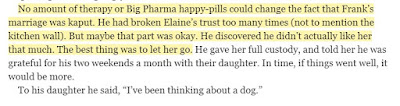 No amount of therapy or Big Pharma happy-pills could change the fact that Frank's marriage was kaput. He had broken Elaine's trust too many times (not to mention the kitchen wall). But maybe that part was okay. He discovered he didn't actually like her that much. The best thing was to let her go.