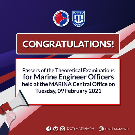 passers of the Theoretical Examinations for Marine Engineer Officers conducted at the MARINA