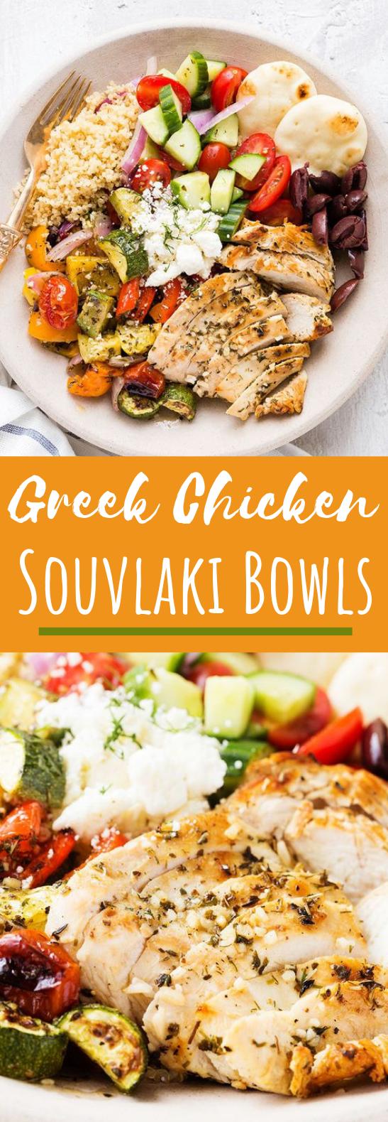 Greek Chicken Souvlaki Bowl #healthy #recipes