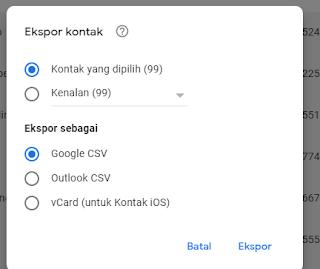 kontak google csv