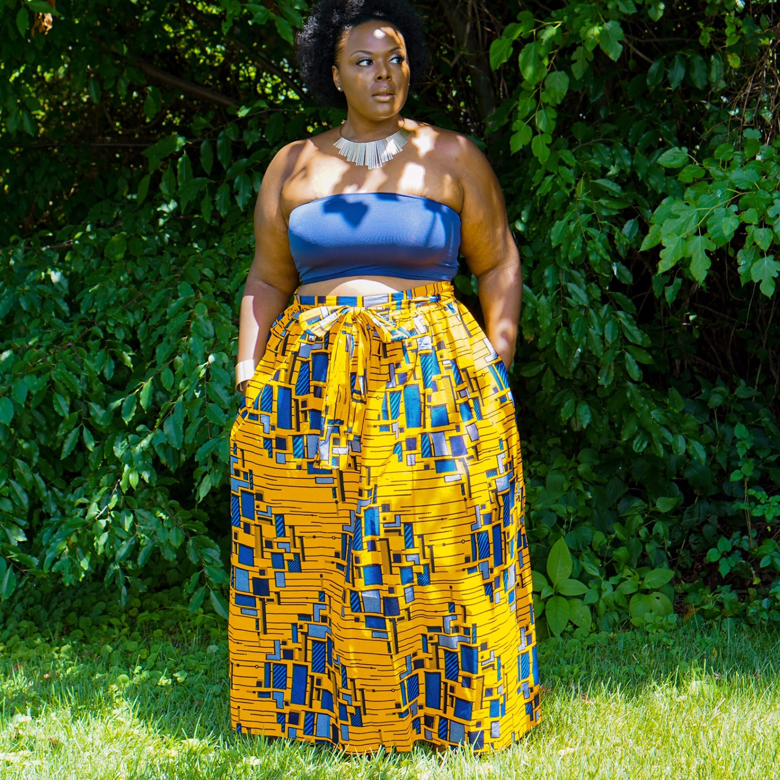 Plus size african print maxi dress - Dess store 24