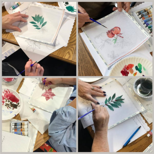 Nature inspired needlepoint canvases by workshop students