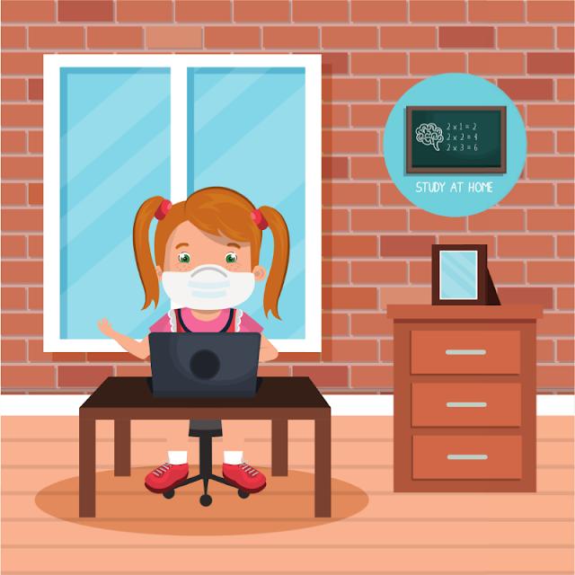 Gambar Kartun Anak Belajar di Rumah (2)