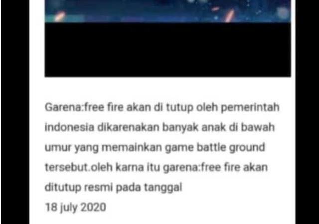 Garena Free Fire Akan Di Tutup 18 Juli ? Hoak Atau Real Mari Kita Cari Tahu