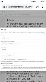 Menyambungkan artikel blog pada google