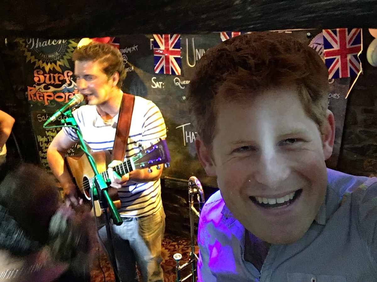 Simon wearing a Prince Harry mask - Queen's 90th birthday - Thatch, Croyde