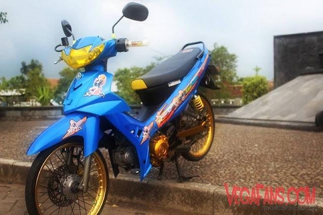 Modifikasi Vega R New Biru Modif Standar Velg Gold