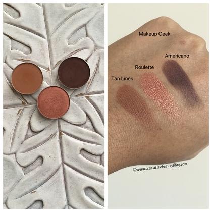 Makeup Geek tan lines roulette americano swatches dark skin
