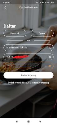 cara daftar dari aplikasi yummy android