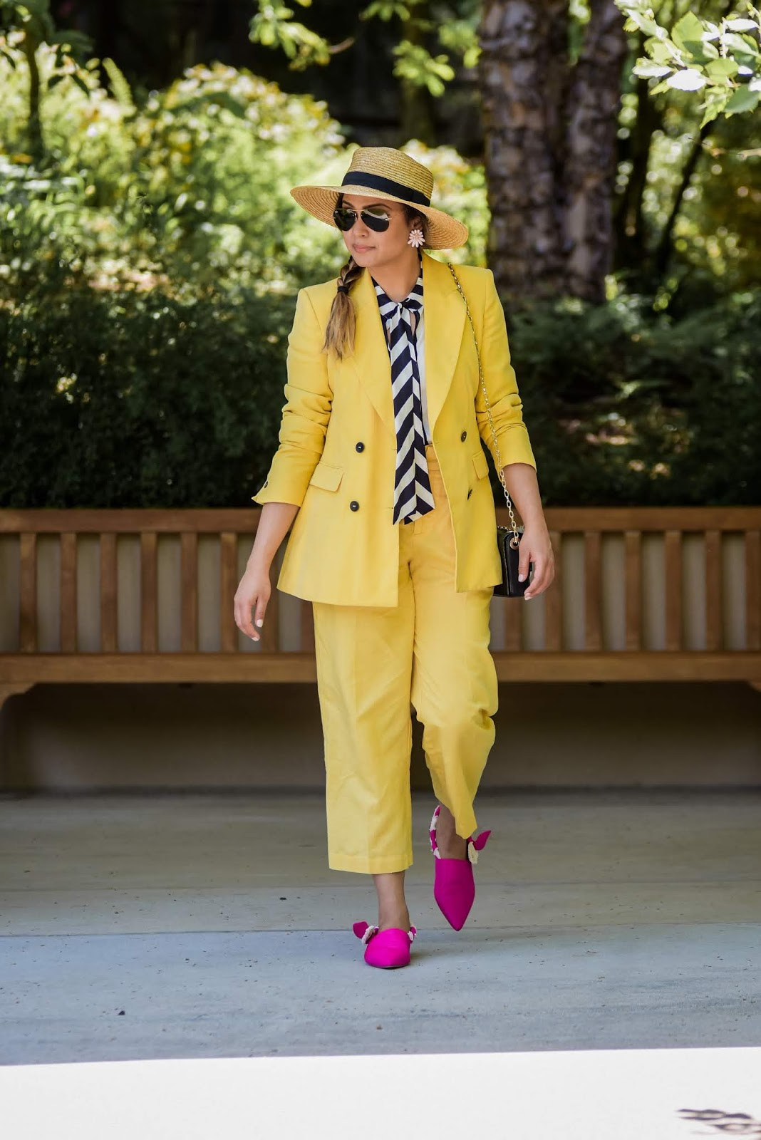 how to wear a yellow pant suit, dressed up, office look, fashion, style, monochromatic, linen zara pants, double breasted blazer, sam edleman river flats, pink and yellow outfit, myriad musings