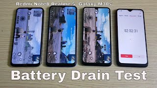 Redmi Note 8 vs Realme 5 vs Samsung Galaxy M30s Battery Drain Test