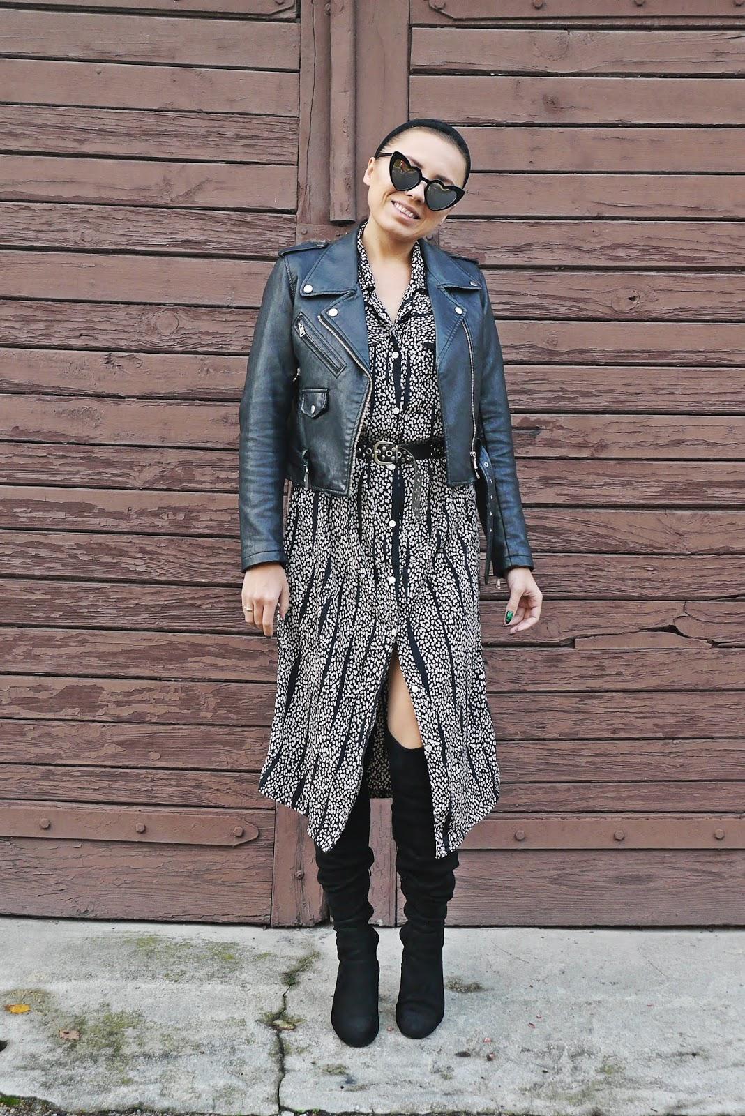 czarna opaska sukienka z second hand czarna ramoneska kozaki za kolano karyn blog modowy blogerka modowa karyn puławy