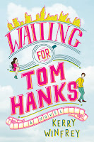Book cover for Waiting for Tom Hanks: bright pink writing, New York skyline across the top, and film reel along the bottom.