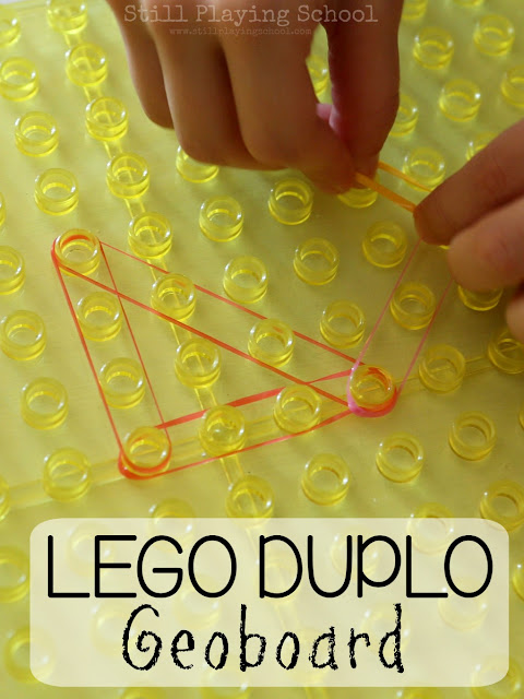Create a geoboard for kids using Lego Duplo bases!