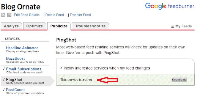 Configure PingShot Section of Feedburner