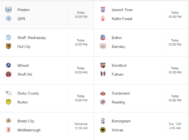 Jadwal English Championship