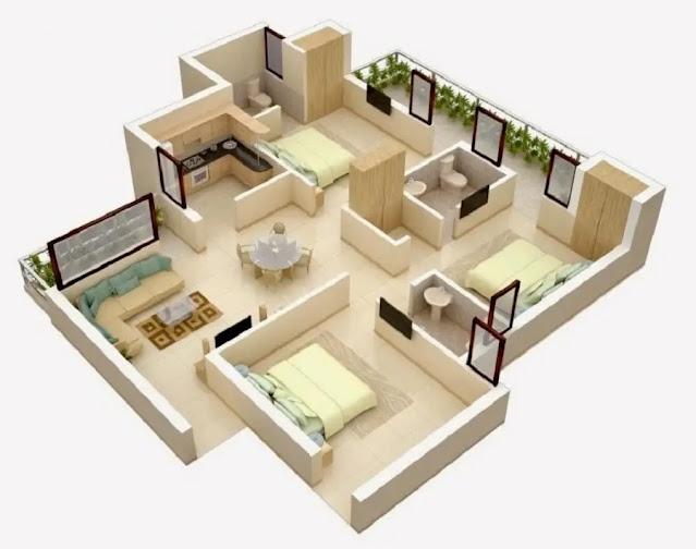Denah Rumah 3 Kamar Tidur Sederhana Minimalis