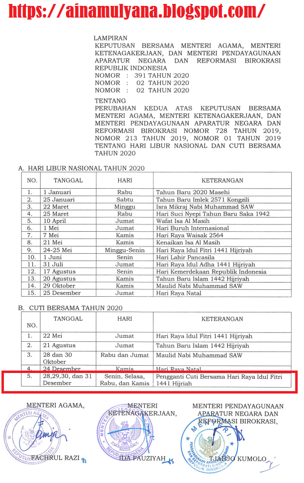 Ini SKB 3 Menteri Tentang Cuti Bersama Idul Fitri Diganti Ke Tanggal 28 – 31 Desember 2020