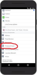 Lokasi tombol Pengaturan Akun Facebook