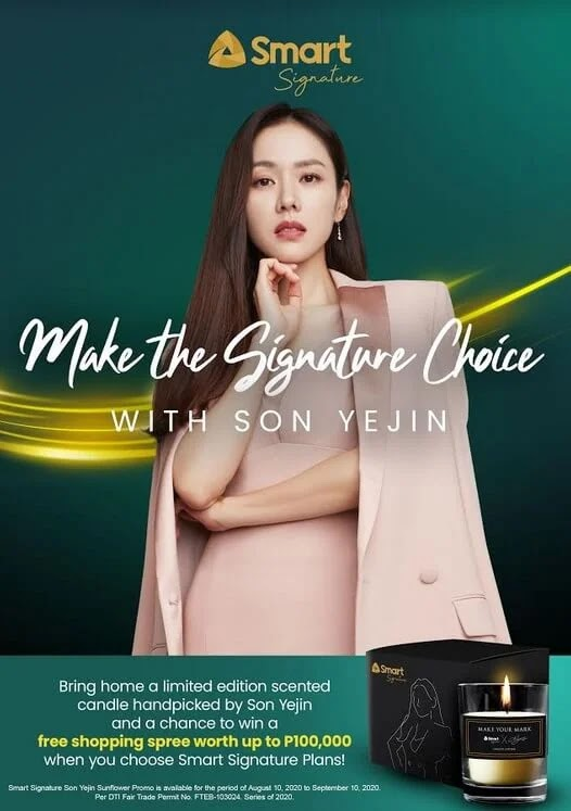 Win Php100,000 Shopping Spree and Scented Candle Handpicked by Korean Superstar Son Ye Jin with a new Smart Signature Plan