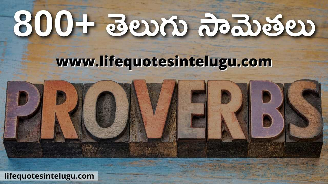 Proverbs In Telugu, తెలుగు సామెతలు