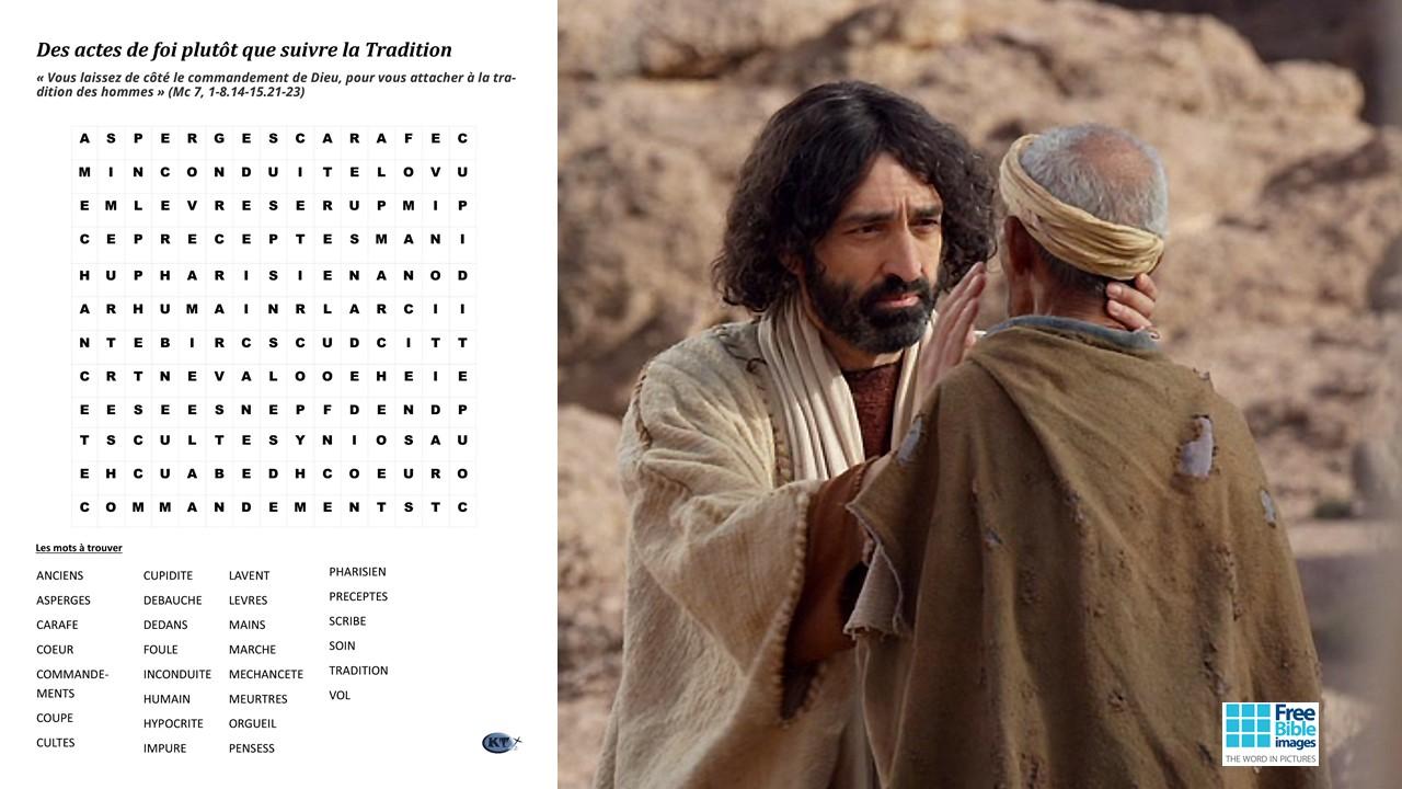 mots cachés Jésus guérit le sourd-muet