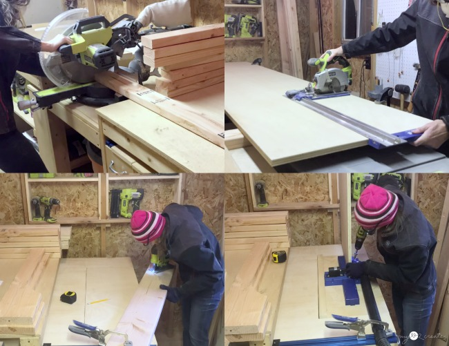 cutting and prepping wood to build daybed