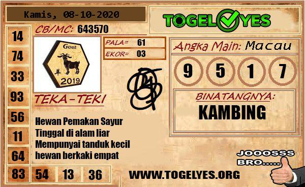 Prediksi Togel Yes Macau Kamis 08 Oktober 2020