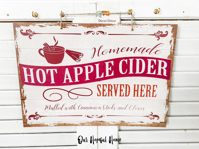 Homemade Hot Apple Cider Served Here wall sign
