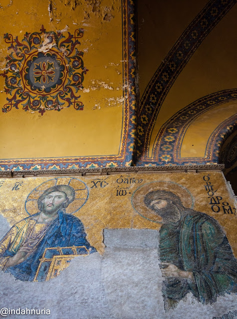 Mosaics of Jesus at Hagia Sophia, Istanbul, Turkey
