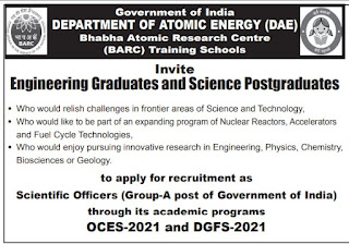 BARC Recruitment 2021 Scientific Officers (Group-A) Posts