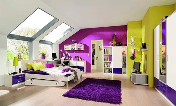 Dormitorios en verde blanco y morado dormitorios colores y estilos - Paredes habitacion juvenil ...