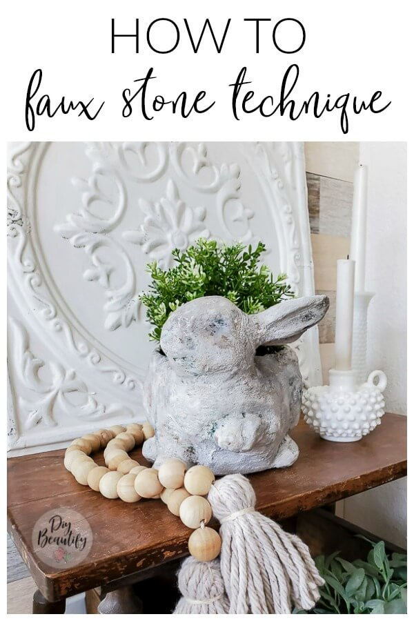 faux stone bunny planter