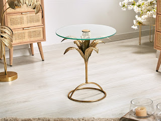 mesa baja auxiliar redonda forja oro