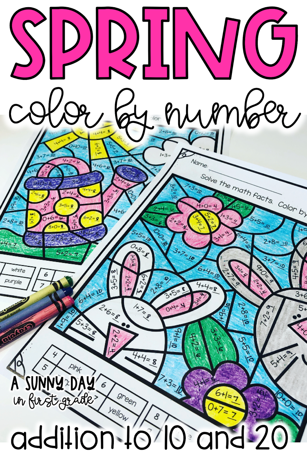 Spring Color By Number Addition To 10 And 20