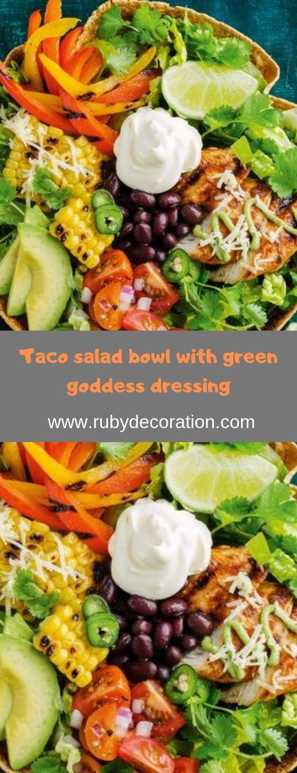 Taco salad bowl with green goddess dressing